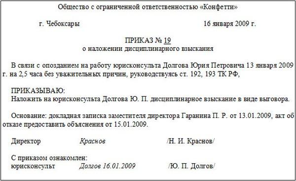 образцы приказов о дисциплинарном взыскании - фото 8